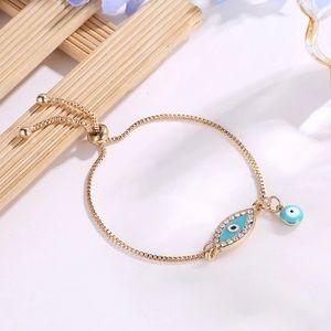 Jewelry - NEW Gold Evil Eye Adjustable Bracelet